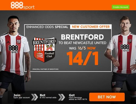 Enhanced Odds: 14/1 Brentford to beat Newcastle