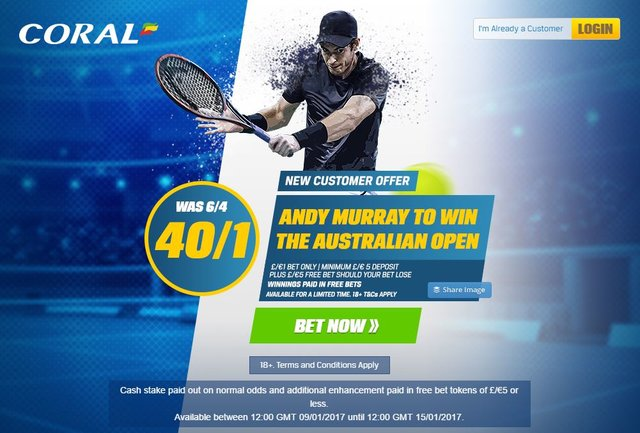 Bet on Andy Murray to win Australian Open 2017 at these Enhanced Odds!