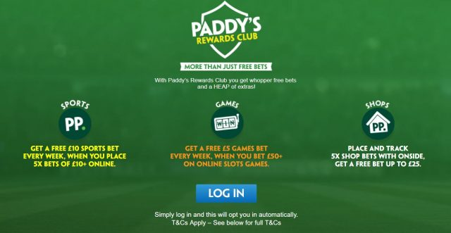 Paddy Rewards Club Betting Offer