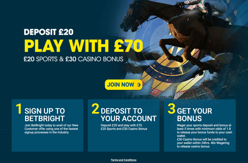 BetBright free bets offer