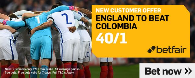 England v Colombia Betting Tip