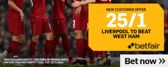 Liverpool v West Ham Betting Offer
