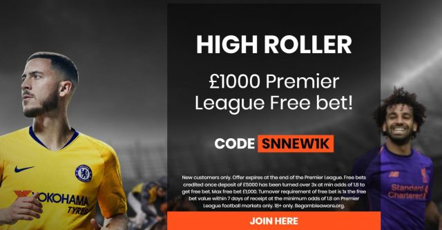 High Roller Premier League Free Bet