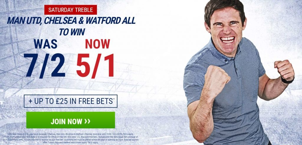 Saturday Football Treble Betting Offer