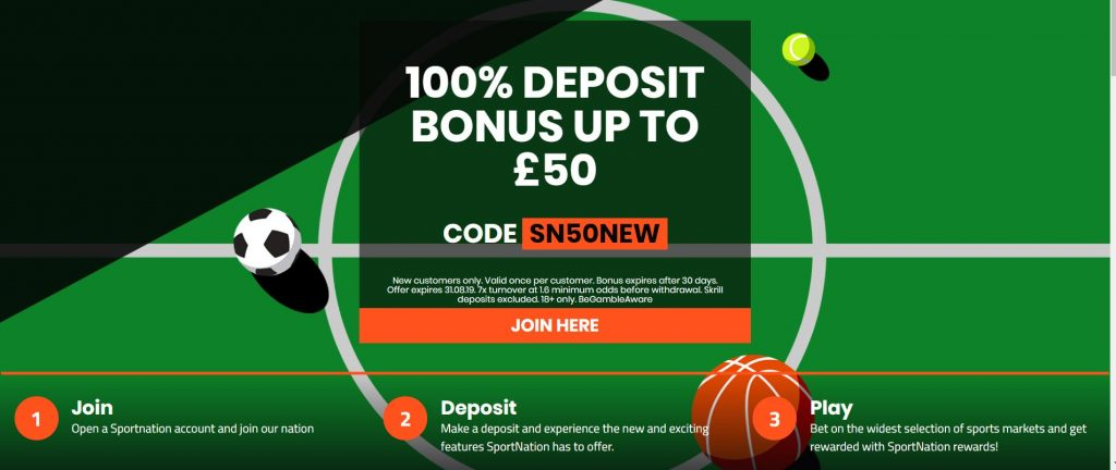 SportNation 100% Deposit Betting Offer