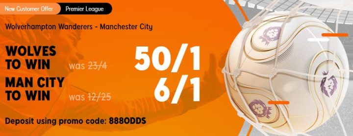 Wolves v Man City Premier League Betting Offer