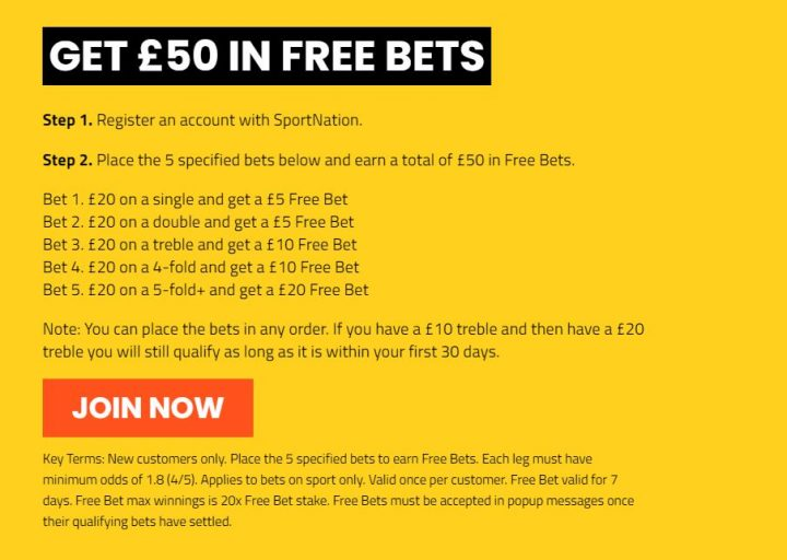 SportNation Free Bet Welcome Offer