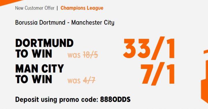 Dortmund v Man City Champions League Betting