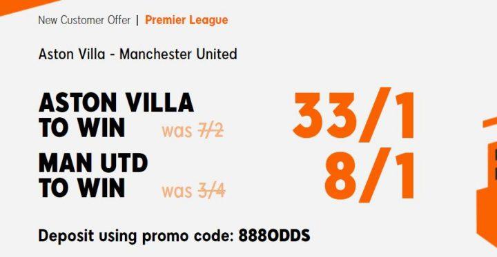 Aston Villa v Man Utd Premier League Betting