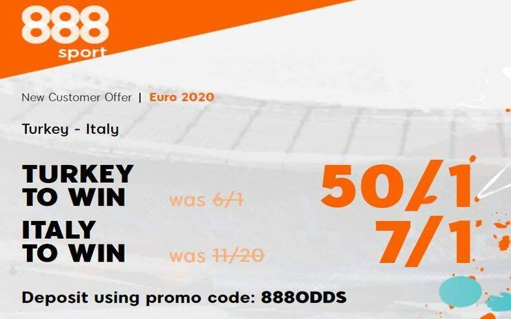 Euro 2020 Turkey v Italy Group A - 888Sport Betting Promotion