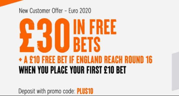 Euro 2020 England Free Bet Offer